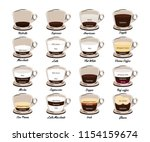 types of coffee. coffee drinks... | Shutterstock .eps vector #1154159674