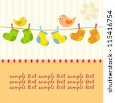 Stock vector baby line with socks and birds card 115416754