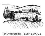 rural landscape. hand drawn... | Shutterstock .eps vector #1154169721