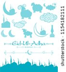 eid ul adha icons set isolated... | Shutterstock . vector #1154182111