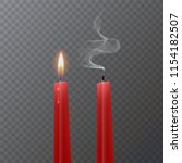 realistic red candle  burning...   Shutterstock .eps vector #1154182507