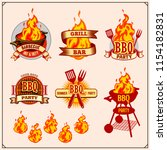 bbq and grill labels set.... | Shutterstock .eps vector #1154182831