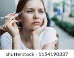 closeup portrait of thoughtful...   Shutterstock . vector #1154190337
