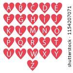 love heart alphabet vector | Shutterstock .eps vector #1154207071