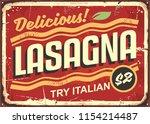 tasty lasagna retro tin sign... | Shutterstock .eps vector #1154214487