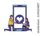 couple in the knees smartphone... | Shutterstock .eps vector #1154224807