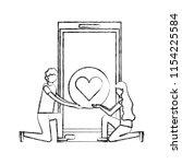 couple in the knees smartphone... | Shutterstock .eps vector #1154225584