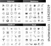 100 icon set  internet icon set ... | Shutterstock .eps vector #115425529