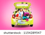 ready to travel. woman in green ...   Shutterstock . vector #1154289547