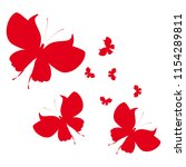 beautiful red butterflies ... | Shutterstock .eps vector #1154289811