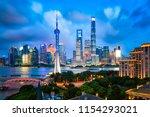 shanghai city buildings night... | Shutterstock . vector #1154293021