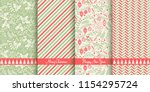 set of christmas seamless... | Shutterstock .eps vector #1154295724