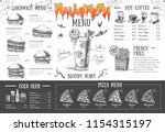 vintage halloween menu design.... | Shutterstock .eps vector #1154315197