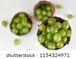 green delicious gooseberry on... | Shutterstock . vector #1154324971