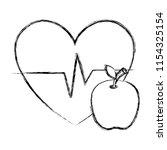heart cardio with apple | Shutterstock .eps vector #1154325154