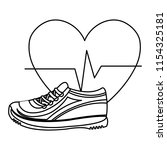 heart cardio with tennis shoes | Shutterstock .eps vector #1154325181