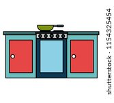 kitchen oven with drawers and...   Shutterstock .eps vector #1154325454