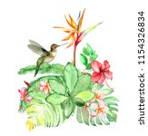 watercolor bouquet with colibri ... | Shutterstock . vector #1154326834