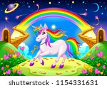 rainbow unicorn in a fantasy... | Shutterstock .eps vector #1154331631