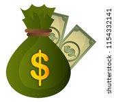 money bag with bills dollars | Shutterstock .eps vector #1154332141