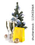 champagne  fir tree decor and... | Shutterstock . vector #115433464