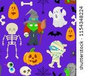 seamless patttern of cartoon... | Shutterstock .eps vector #1154348224