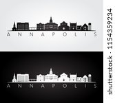 annapolis  usa skyline and... | Shutterstock .eps vector #1154359234