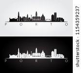 porto skyline and landmarks...   Shutterstock .eps vector #1154359237