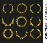 golden vector laurel wreaths on ... | Shutterstock .eps vector #1154361871