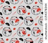 Stock vector seamless vector pattern with lucky maneki neko cat fan fish and chopsticks 1154378344