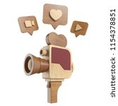 vintage wooden movie camera... | Shutterstock . vector #1154378851