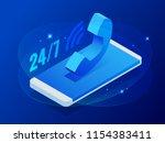isometric banner of 24 7... | Shutterstock .eps vector #1154383411