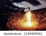 Flame cutting is a destructive phenomenon that occurs in some firearms (usually revolvers) as a result of hot gases under high pressure. - stock photo