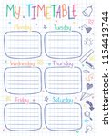school timetable template on... | Shutterstock .eps vector #1154413744