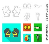 gloves  elbow pads  goggles ... | Shutterstock .eps vector #1154423101