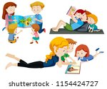 set of parents reading to... | Shutterstock .eps vector #1154424727
