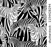 tiger and zebra seamless... | Shutterstock .eps vector #1154428294