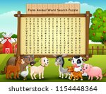 farm animals word search puzzle | Shutterstock .eps vector #1154448364