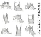 playground slide set 3d render...   Shutterstock . vector #1154453281