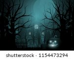 happy halloween background and... | Shutterstock .eps vector #1154473294