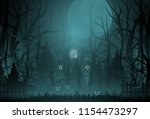 happy halloween background and... | Shutterstock .eps vector #1154473297