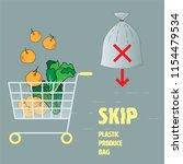 skip plastic produce bag... | Shutterstock .eps vector #1154479534