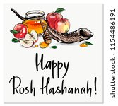 happy rosh hashanah hand drawn... | Shutterstock .eps vector #1154486191