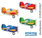 set of sports airplanes on... | Shutterstock .eps vector #1154511067