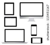 computer laptop tablet phone... | Shutterstock .eps vector #115451167