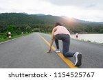 young fitness woman runner feet ... | Shutterstock . vector #1154525767