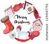 cute watercolor christmas  arts | Shutterstock . vector #1154547751