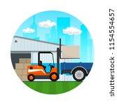 icon    forklift truck loads or ... | Shutterstock .eps vector #1154554657