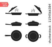frying pans. set of pan icon.... | Shutterstock .eps vector #1154566384