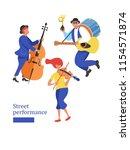 street musician. man band  a... | Shutterstock .eps vector #1154571874